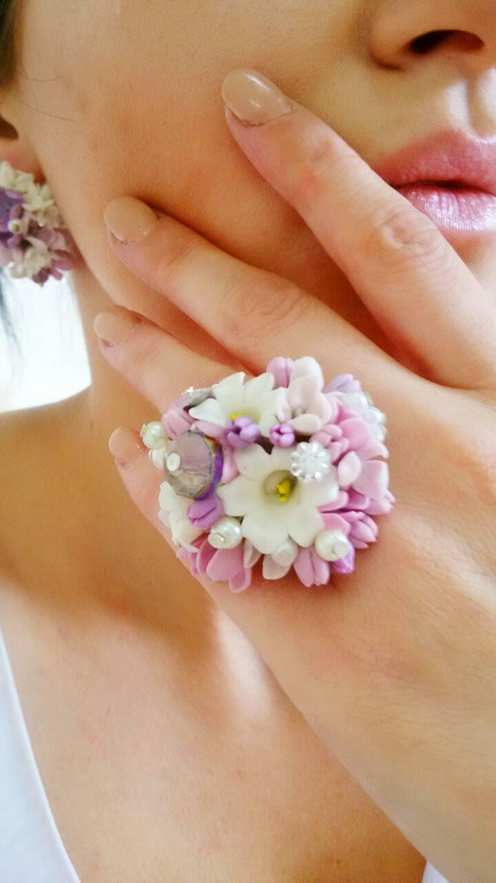 Wedding - Jewelry Set, Earrings lilac, cold porcelain, clay flower, earrings with flowers,polymer clay flowers