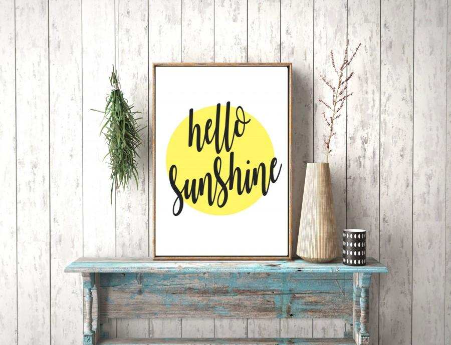 Mariage - Instant download, Hello Sunshine Printable Art, Digital Prints, Typography Print, Hand Lettering, Wall Art Quotes, Wall Art, Typography Wall