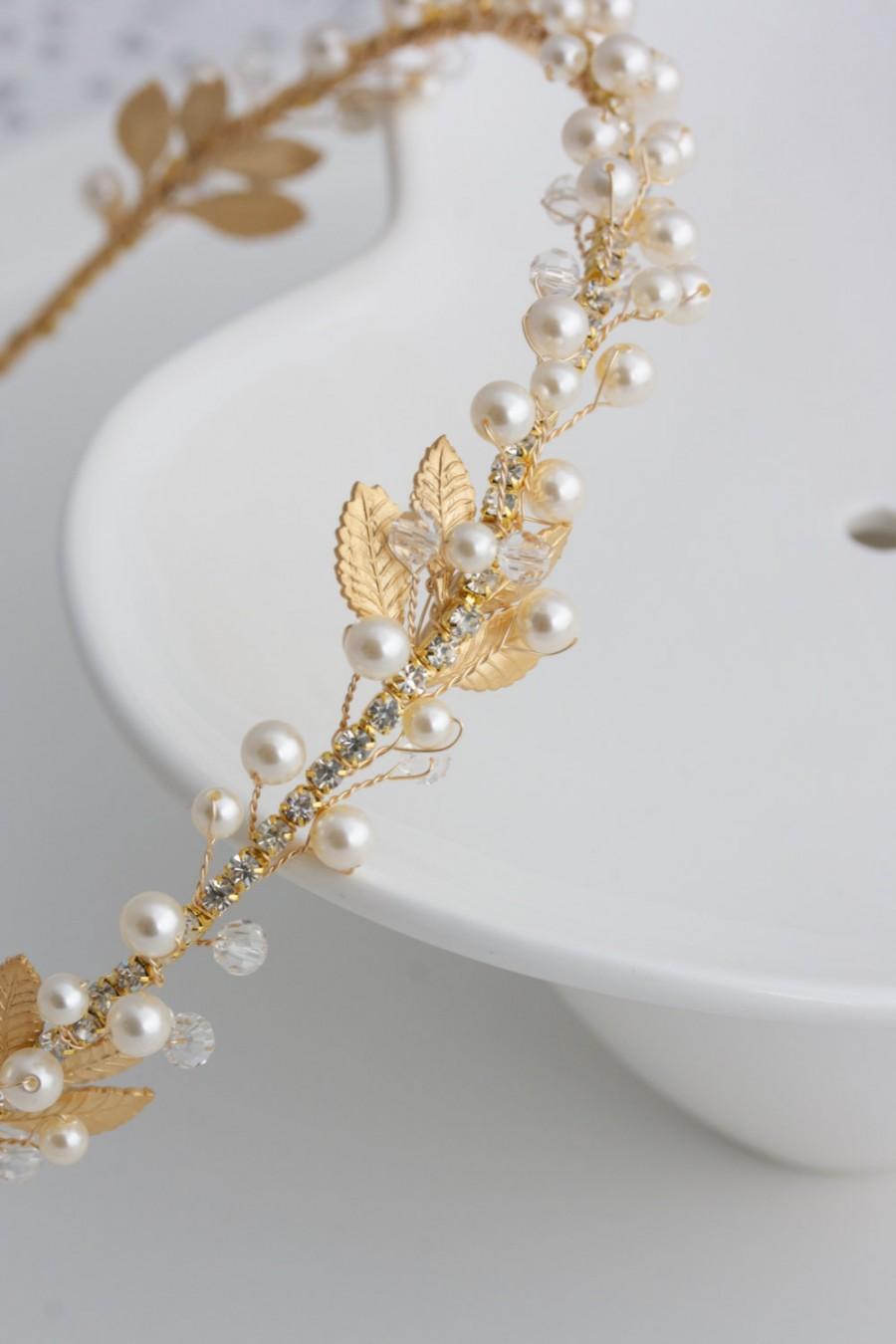 Hochzeit - Gold Bridal Headband Pearl Headpiece Matt Gold Leaf Headband Delicate Simple Wedding Hair Accessory  EDERA
