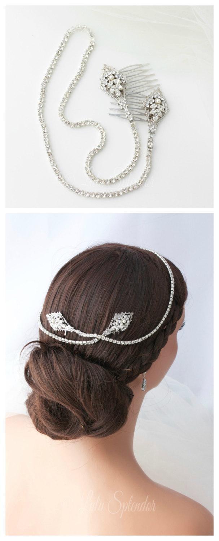 Hochzeit - Crystal Hair Vine Wedding Hair Accessory Rhinestone Bridal Halo Headband Silver Wedding Hair Piece  URSULA