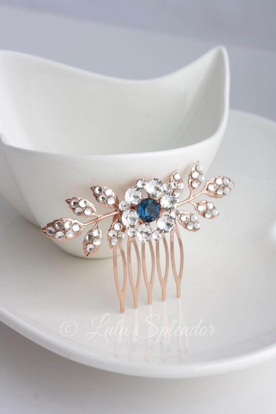 Hochzeit - Rose Gold Wedding Comb Sapphire Montana Blue Bridal Hair Accessories Leaf Bridal Hair Pin Small Bridal Clip Blue Crystal Hair Comb MACY