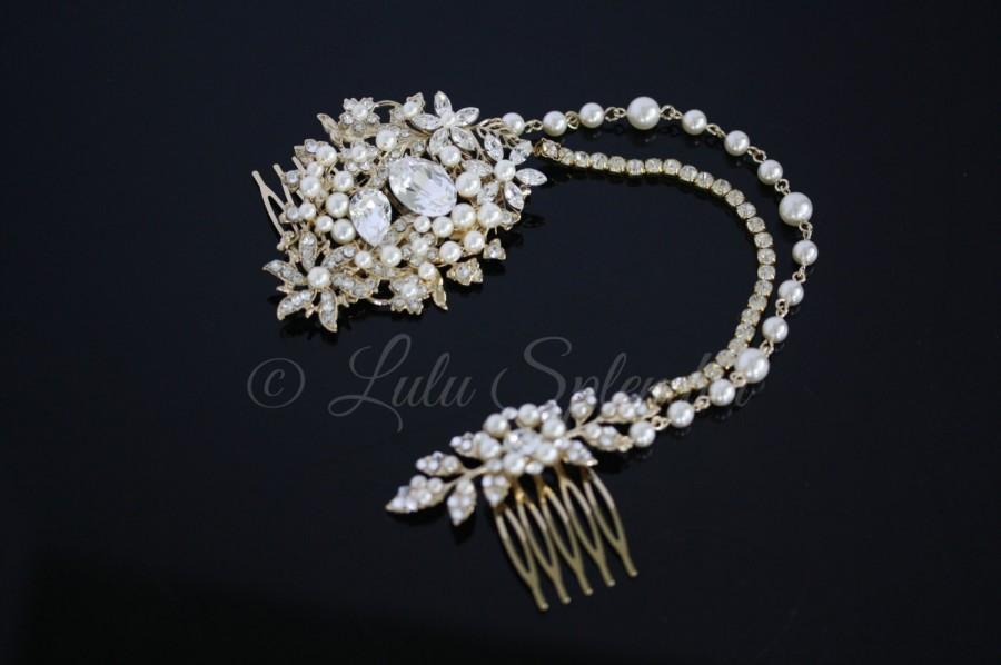 Mariage - Gold Wedding Headpiece Bridal Hair Chain Bridal Hair Accessory Beaded Hair Piece Swarovski Crystal Pearl  AMBRIA HP