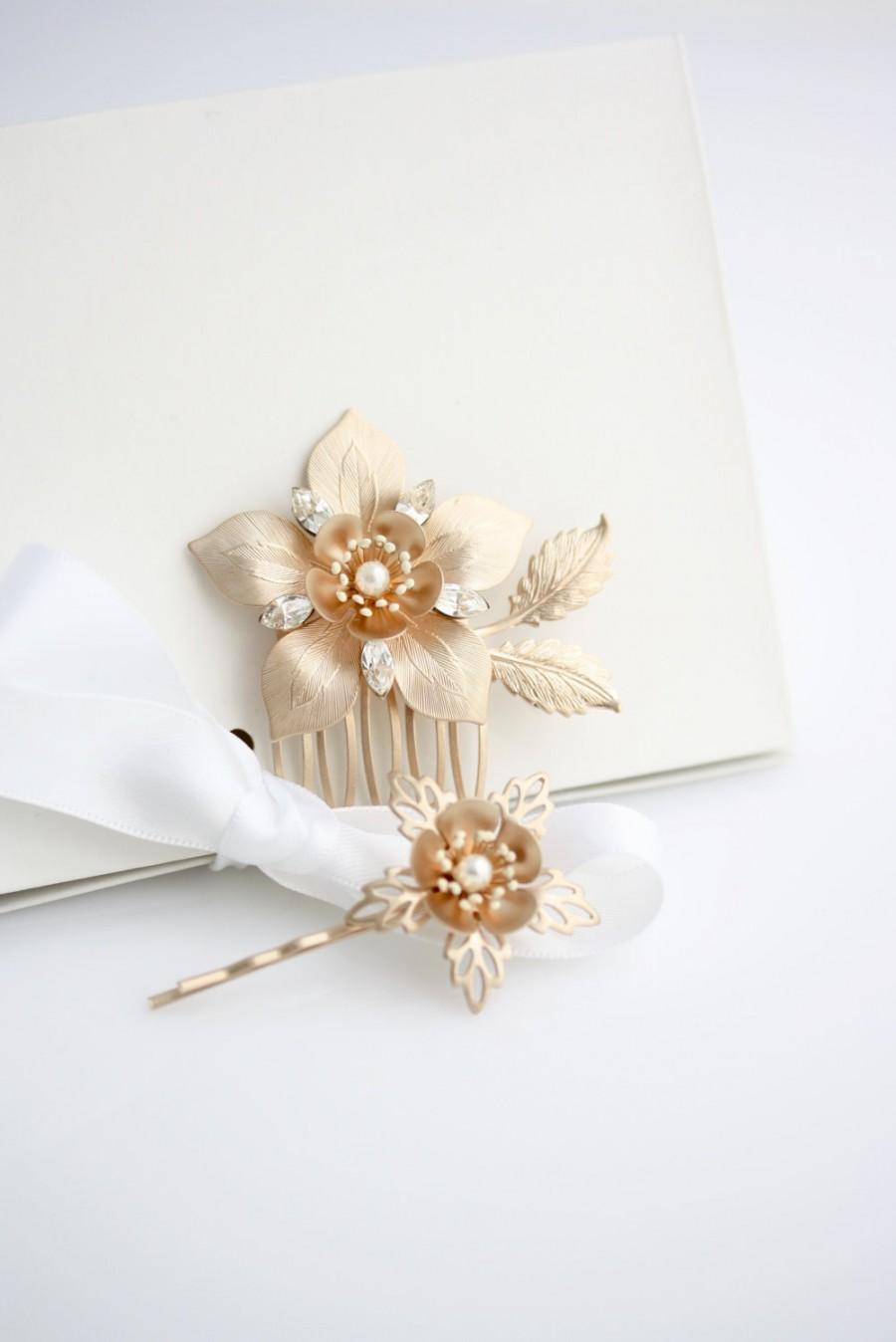 Mariage - Rose Gold Bridal Comb Set Rose Gold Wedding Hair Pin Set Flower Comb Matt Rose Gold Wedding Hair Accessory Rose Gold Hair Pins ALESSIA SET