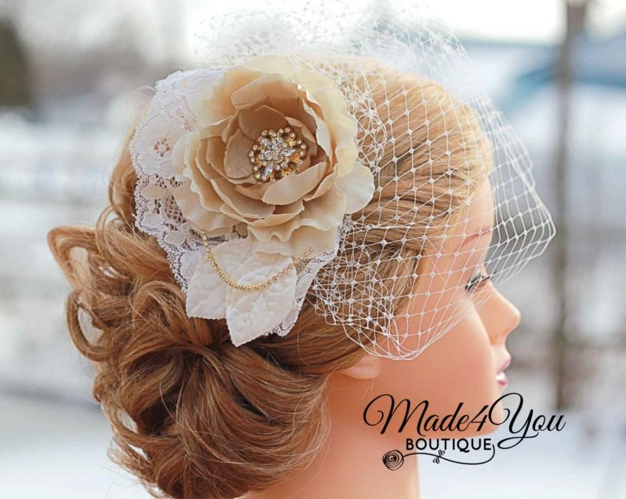 Hochzeit - Ivory or Champagne Flower Birdcage Veil-Champagne Lace Bridal Fascinator-Wedding Headpiece - Other Colors Available