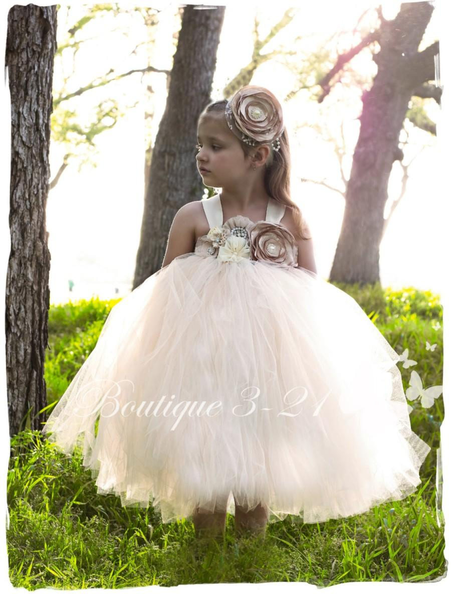 Mariage - Champagne tutu dress, Ivory Tutu Dress, Champagne flower girl dress, Ivory flower girl dress, Champagne flower girl tutu dress,