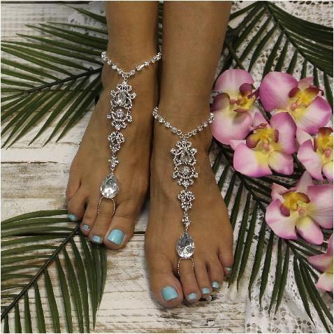 Hochzeit - DIAMOND - Wedding Barefoot Sandals - Silver