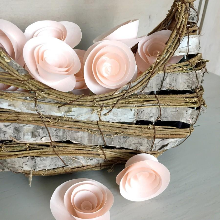 Mariage - Blush Pink Paper Flowers - Table Decor - Loose Flowers - Shower Paper Flowers - Wedding Table - Cake Flowers - Flower Girl - 10 Flowers