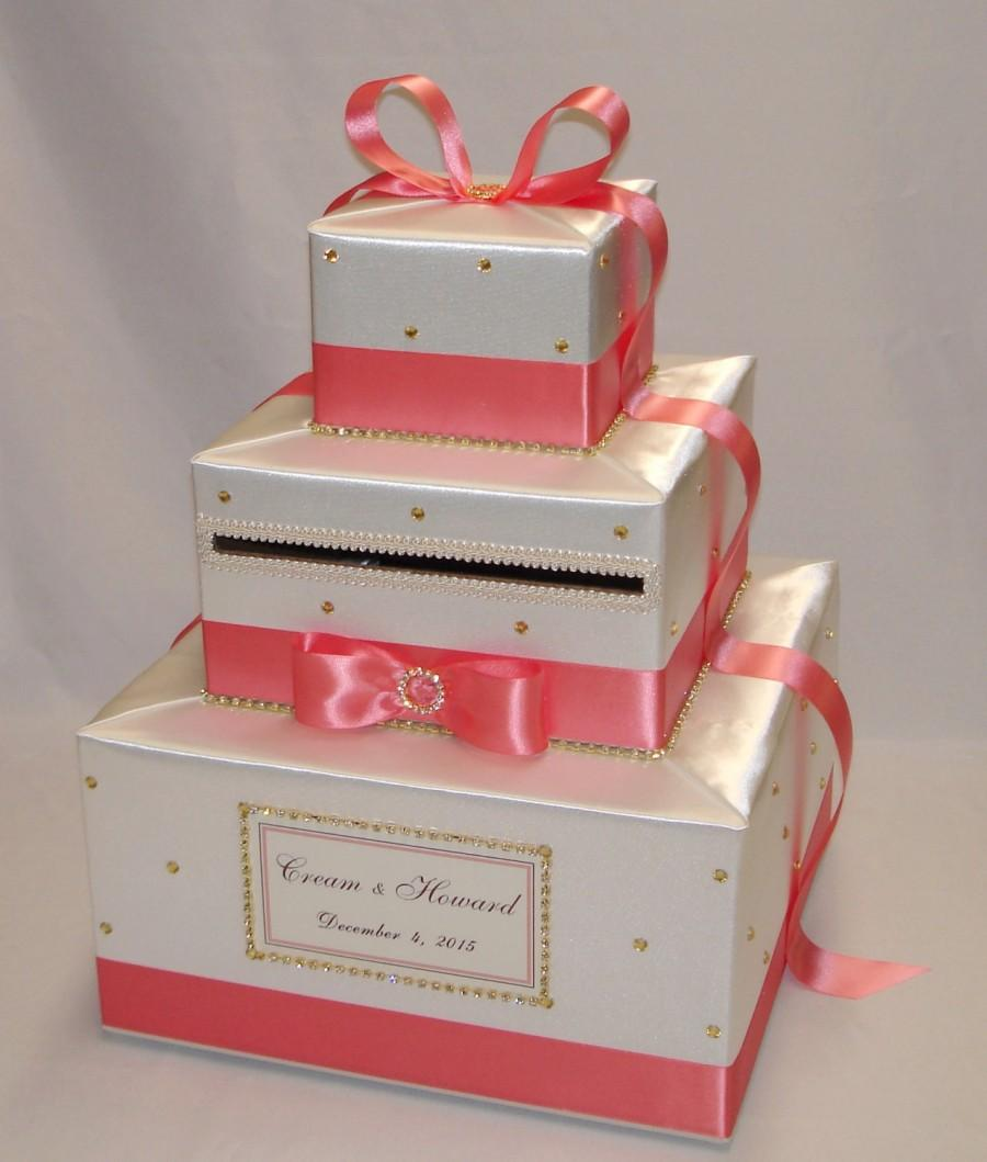 Mariage - Ivory and Coral Reef Wedding Card Box-Gold Rhinestones