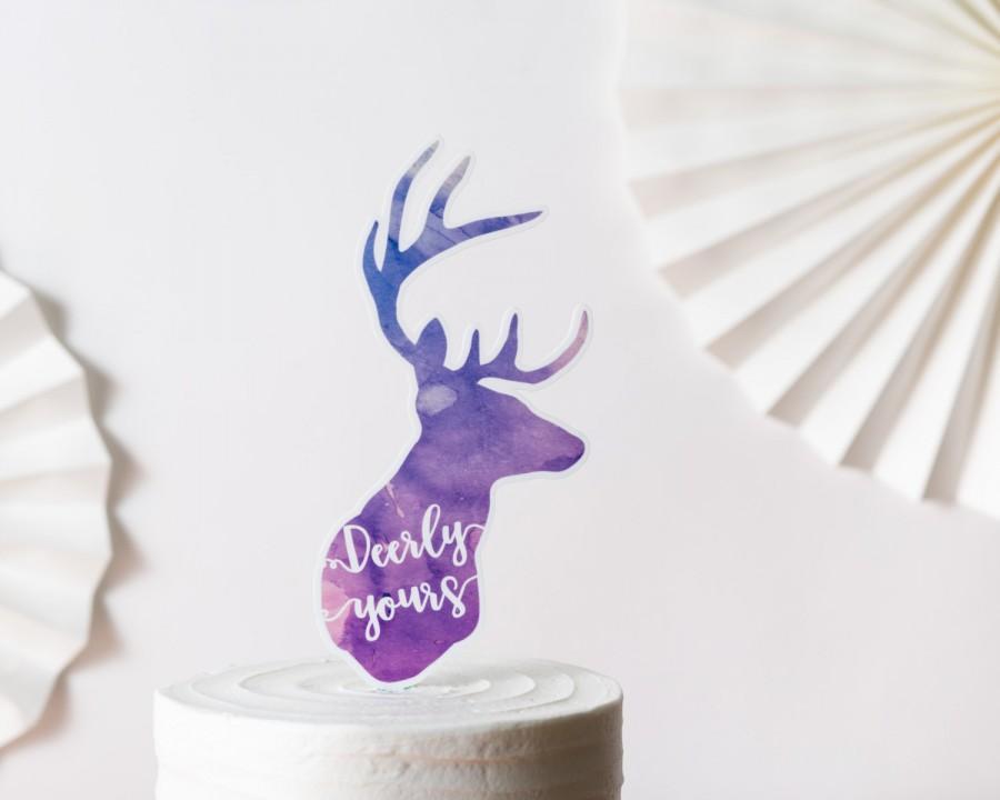 Mariage - Watercolor deer topper