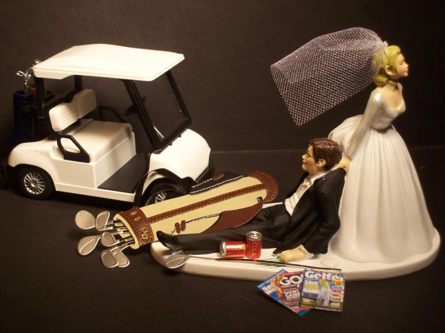 NO GOLF With Cart Bride And Groom Wedding Cake Topper Funny #2647860 ...