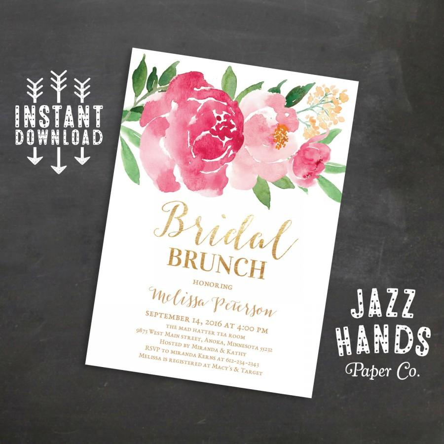Hochzeit - Printable Bridal Shower Brunch Invitation, Wedding Shower Invites, Bridal Brunch Invitation, Wedding, Watercolor Floral, Instant Download