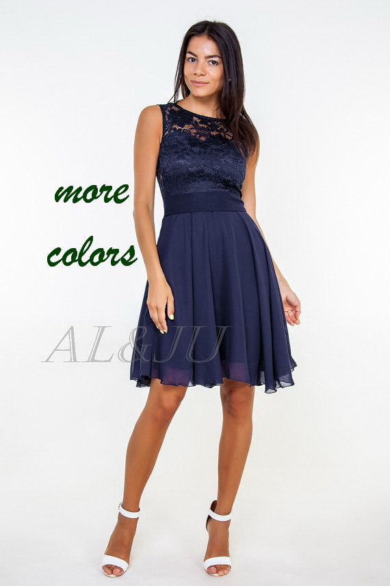 Navy Blue Bridesmaid Dress Navy Lace Dress Navy Dress
