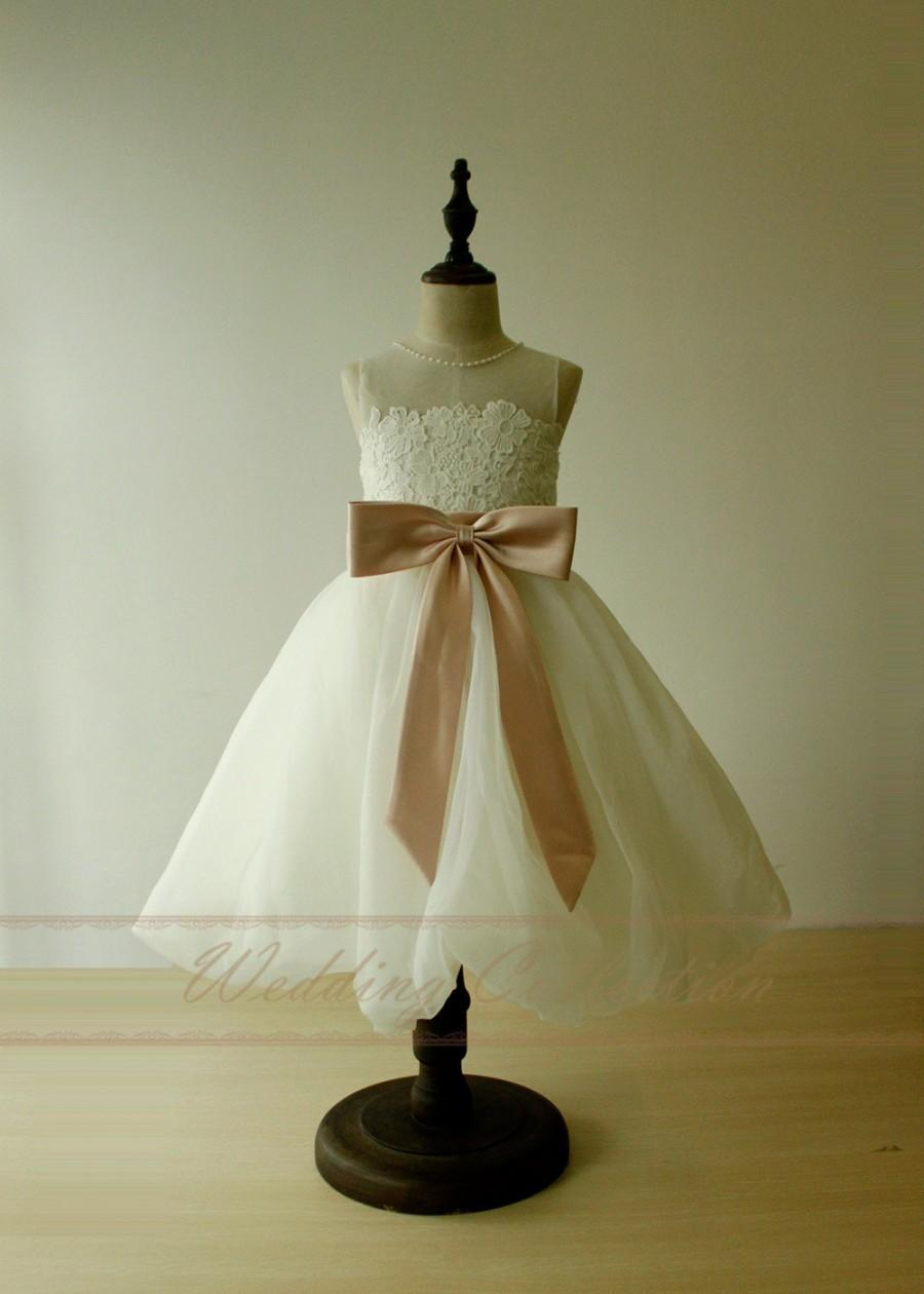 Wedding - Flower Girl Dress Birthday Party Gown Bubble Hem with Blush Sash