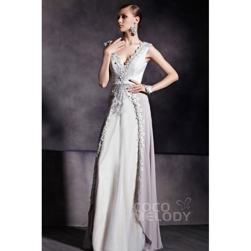 a928433c25d Graceful Sheath-Column V-Neck Silver Cloud Floor Length Evening Dress with  Appliques COZF14039 - Top Designer Wedding Online-Shop