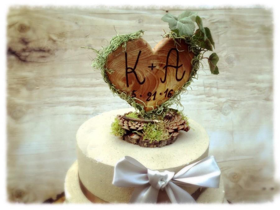 Hochzeit - Unique Wedding Cake Topper - Rustic Wedding Cake Topper - Wooden Cake Topper - Heart Cake Topper - Rustic Wedding - Forest Wedding