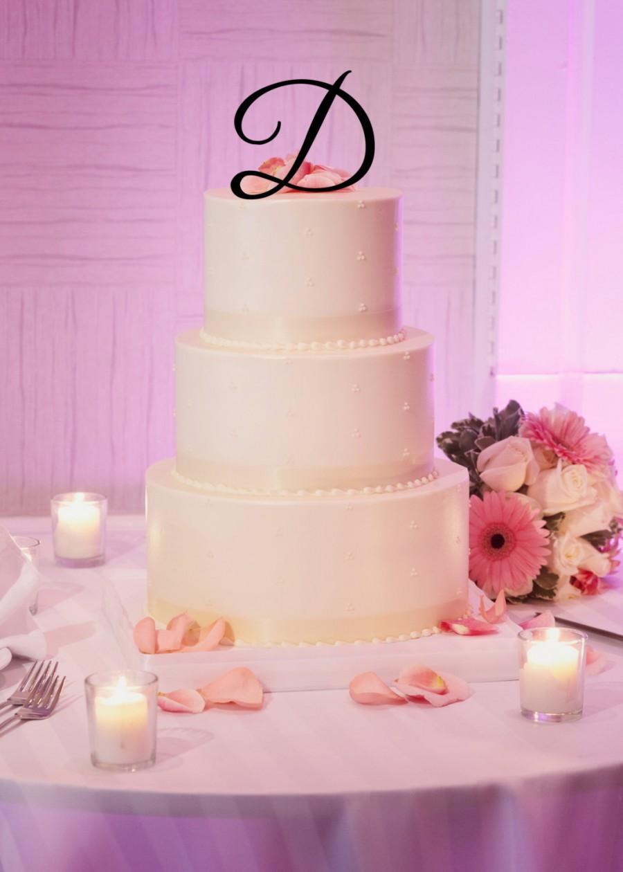 "زفاف - 5"" Tall Acrylic Wedding Monogram Initial Letter Cake Topper"