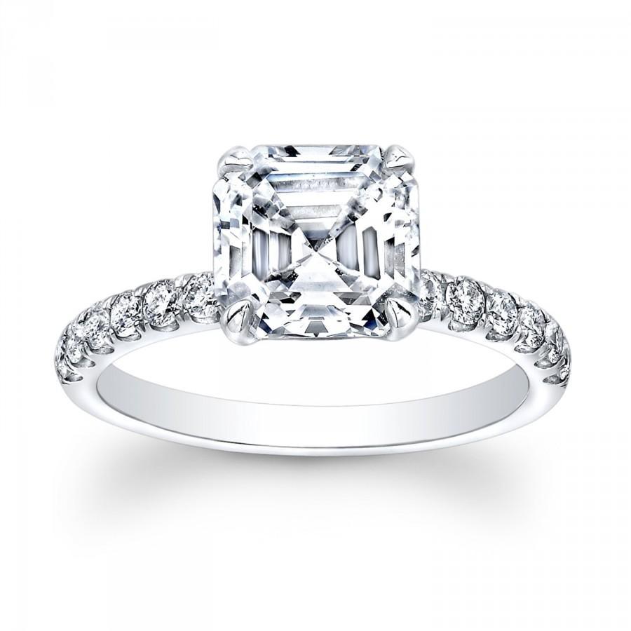 زفاف - Ladies 18kt white gold diamond engagement ring 0.33 ctw G-VS2 diamonds with 2ct White Sapphire Asscher Ctr