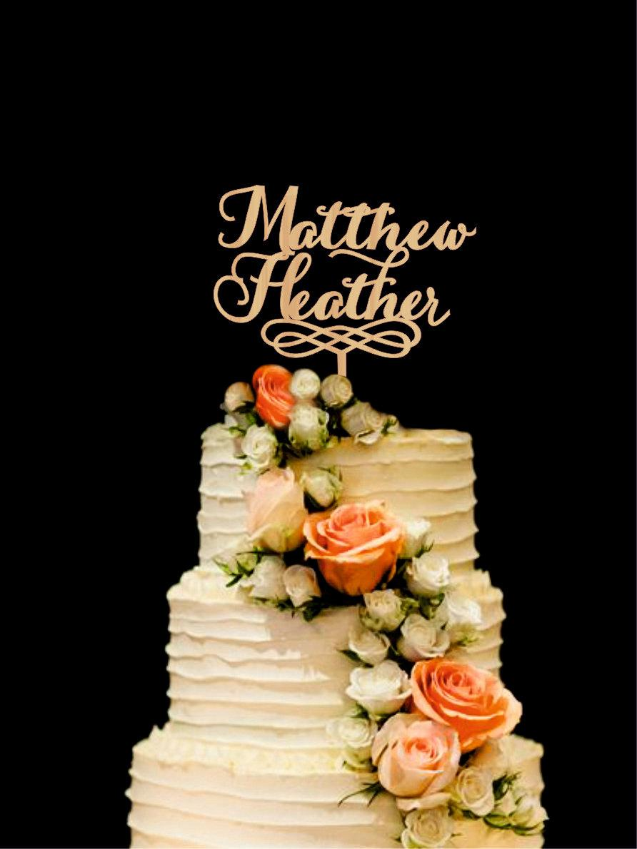 Mariage - Names Wedding Cake Topper Wood Custom Cake Topper