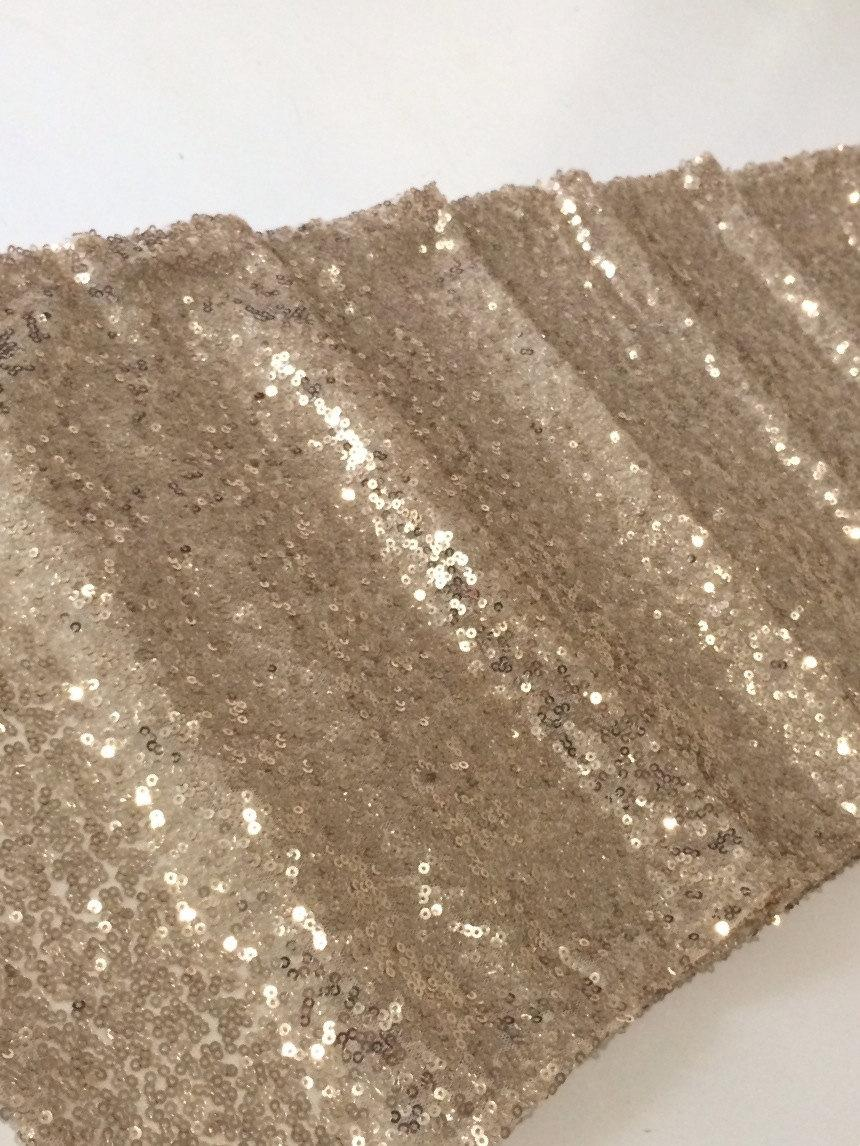 Mariage - 2.75m*28cm Sparkly Champagne Gold Sequin Glamorous Table Runner for Wedding