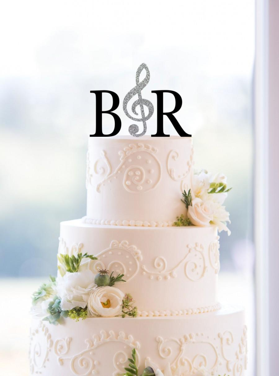 Monogram Wedding Cake Topper – Custom 2 Initials Topper With