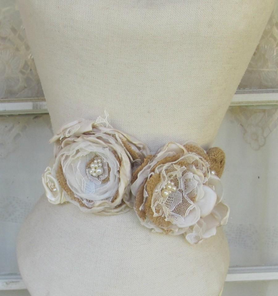 Mariage - Bridal Sash Belt Bridal Accessory Burlap Bridal Sash , Rustic Bridal Sash, Burlap Wedding Sash, burlap accessory