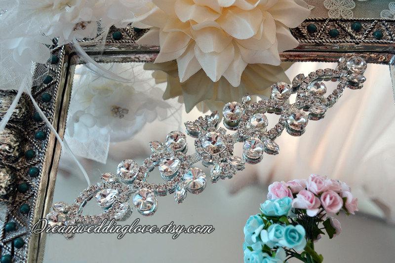 Wedding - Rhinestone applique, Crystal applique,  bridal sash appliqu, Diamante Applique, Bridal Applique, wedding belt,Headband Jewelry,DIY Wedding