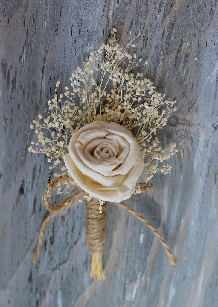 Wedding - Rustic Boutonniere Groom Boutonniere Groomsman Boutonniere Dried Flowers Mens Wedding Sola Boutonniere  Wedding  Ivory Boutonniere