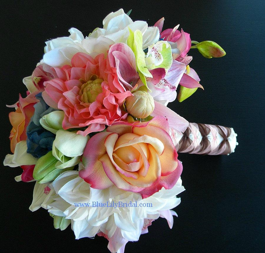 Wedding - The Katie Bouquet- Real Touch and Silk Flower Wedding Package in Cream, Coral, Pink, Blue and Green  Beach Wedding - Spring/ Summer  Wedding