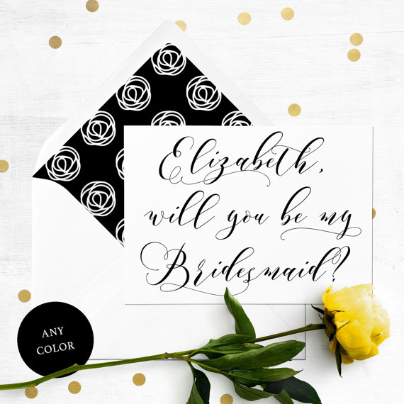 Wedding - Will you be my Bridesmaid Card-Personalised Elegant Calligraphy Bridesmaid Proposal-Maid Of Honor, Flower Girl, Proposal-Bridesmaid Card