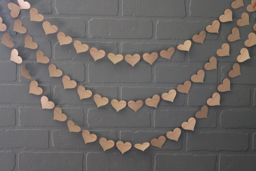Mariage - Bachelorette Party Decorations, Craft Paper Red Heart Wedding Garland, Rustic Hearts Bridal Shower Photo Backdrop,  Baby  Bunting Banner