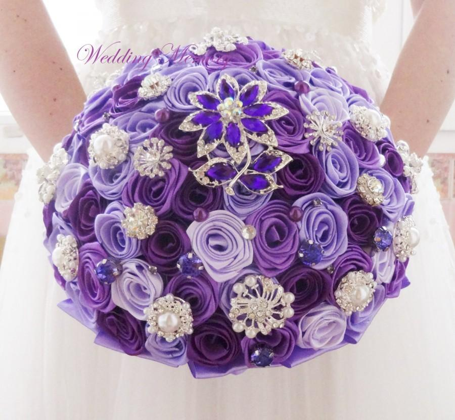 زفاف - BROOCH BOUQUET of purple and lavender colours with silver brooches, fabric roses flowers