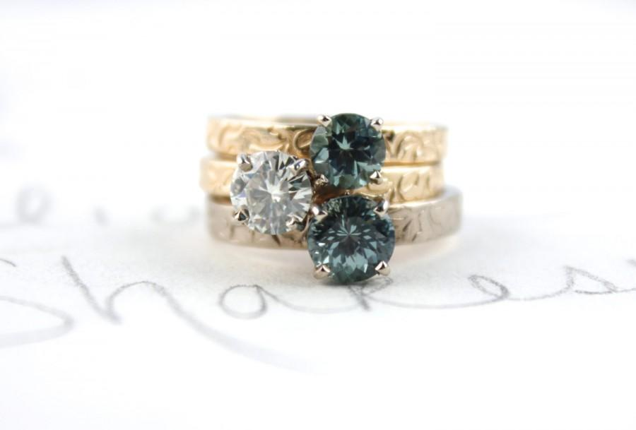 Mariage - engagement ring . moissanite engagement ring . unique engagement ring . diamond alternative engagement ring . made to order peacesofindigo