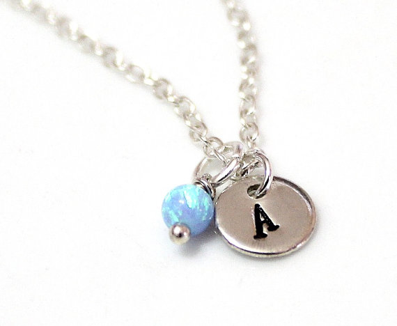 Silver initial necklace all collections of necklace opal initial necklace sterling silver initial necklace initial aloadofball