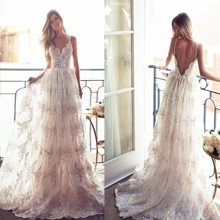 Hochzeit - Most Popular A-line Long Spaghetti Open Back Sexy Lace Bridal Gown, Wedding Dress, WD0046