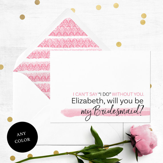 Hochzeit - Will you be my Bridesmaid Card-Personalized Simple Typography Bridesmaid Proposal-Maid Of Honor, Flower Girl Proposal-Abstract Watercolor