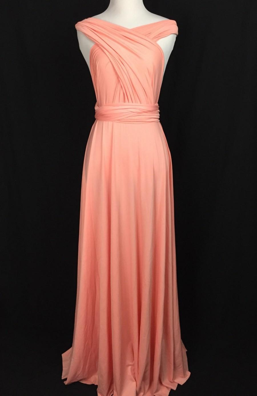 Свадьба - Sweet heart Wrap Convertible Infinity Dress Evening Dresses Straight Hem Floor Length  Peach Bridesmaid Dress-C30#
