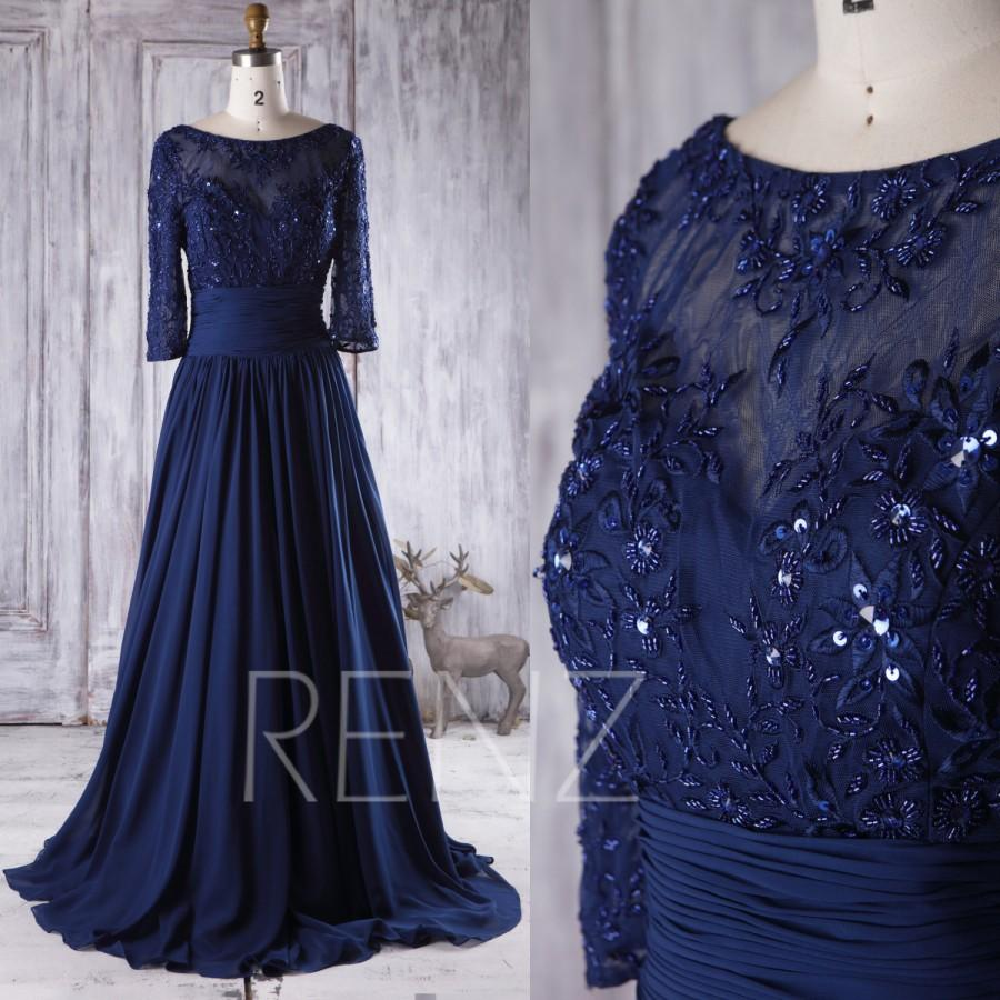 Свадьба - 2016 Navy Chiffon Bridesmaid Dress Beading, Sweetheart Mesh Illusion Neck Wedding Dress Long Sleeves, Mother of Bride Dress Floor (X069B)