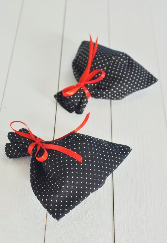 Mariage - Polka Dot Favor Bag, Black White Cotton, Wedding Sachet, Small Gift Bag, Handmade,  Rustic Decor