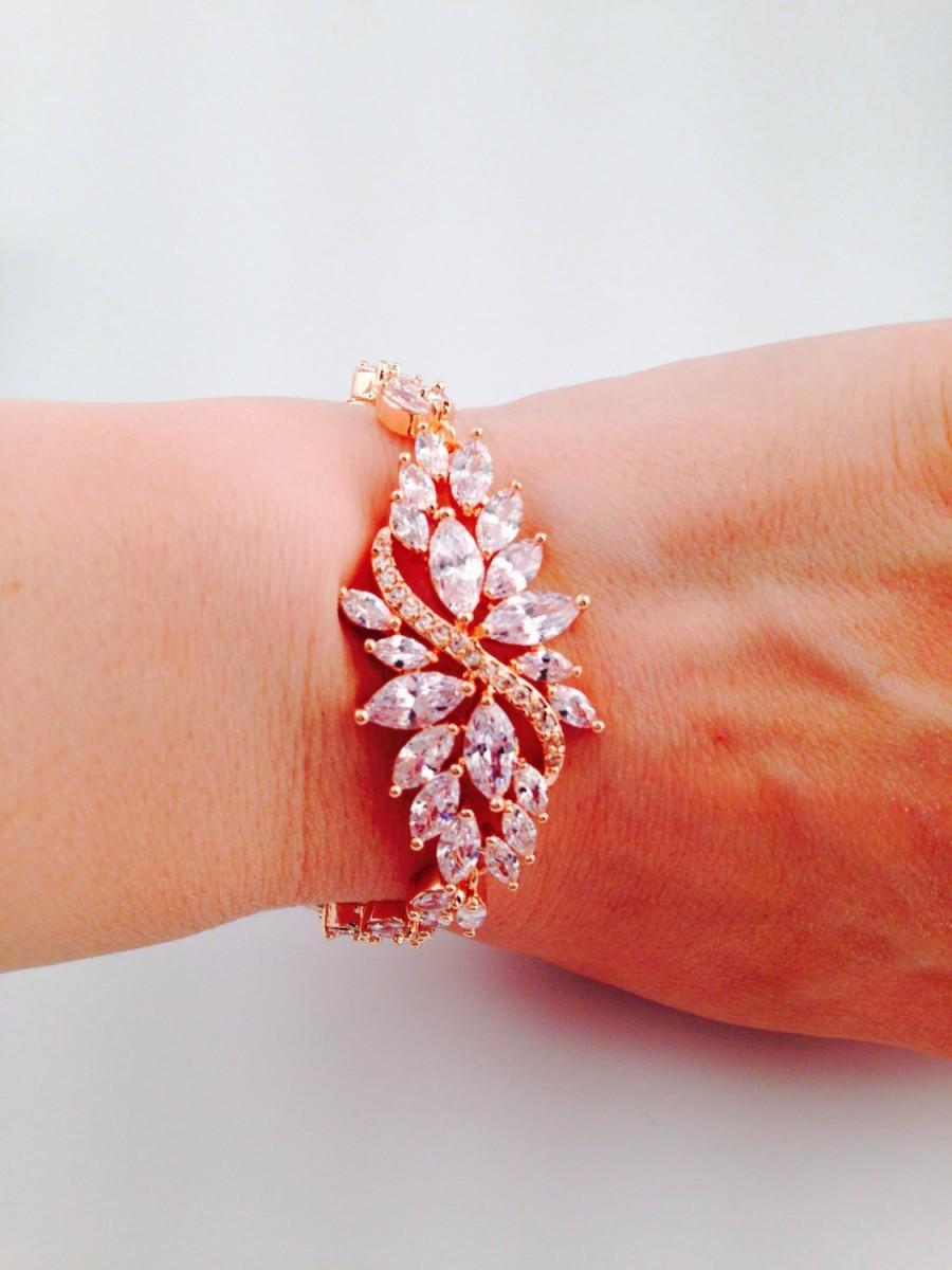 Hochzeit - Rose gold bridal bracelet Cubic zirconia bracelet Rose gold wedding bracelet Cz bracelet Rose gold bridal jewelry Vintage Jewelry