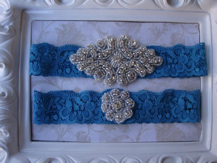 Wedding - Wedding Garter - Bridal Garter - Crystal Rhinestone Garter and Toss Garter Set on Teal Blue Lace