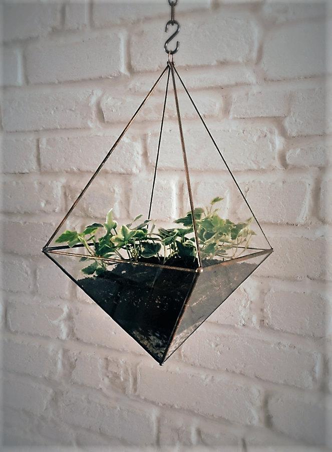 Hanging Glass Terrarium Space Saving Octahedron Geometric Hanging