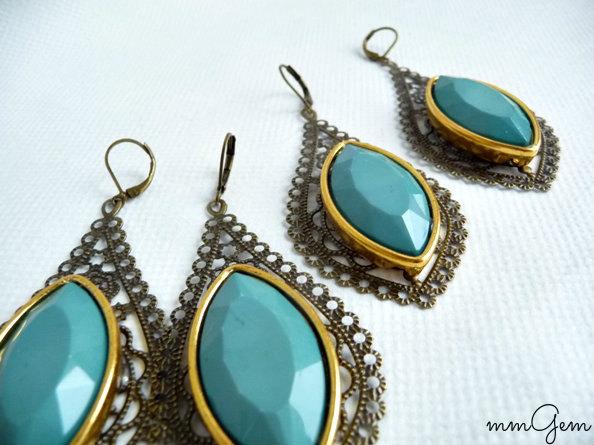 Wedding - Teal boho earrings, statement earrings, teal statement earrings, pastel teal earrings, leaf earrings, leaves earrings, bohemian, antique