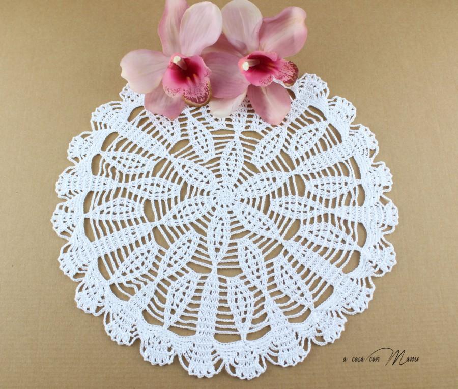 Centrino A Uncinetto Bianco White Doily Crocheted Centrino Rotondo