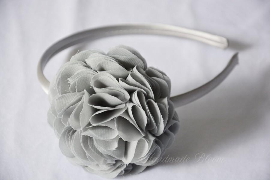 Mariage - Gray  Hair Accessories, Silver Grey Wedding, Flower Girl Headband, Bridesmaid Accessory, Hairband, Baby Headband, Floral crown, Hair flower