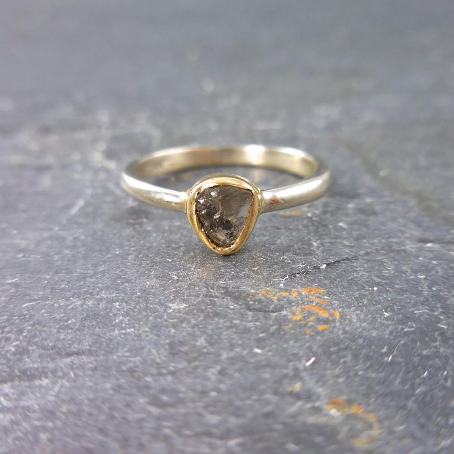 Свадьба - SALE  Rough Diamond Ring - Raw Diamond Ring, Raw Diamond Ring, White and Yellow Gold Diamond Ring - Rustic Diamond Ring