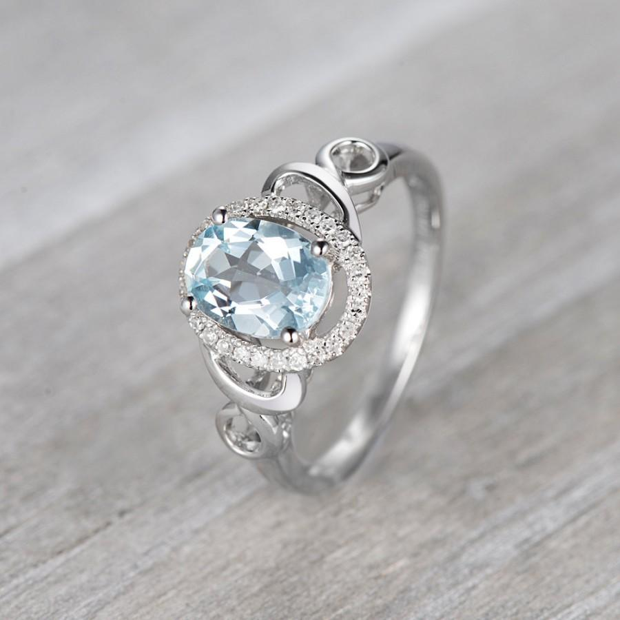 Aquamarine Engagement Ring,14K White Gold Ring,Halo