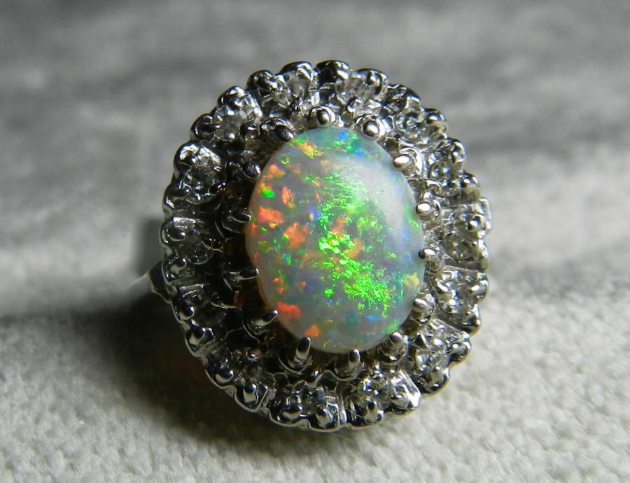5c882175d Opal Ring 14K Opal Diamond Halo Ring Semi Black Opal Ring Diamond Halo  Engagement Ring October Birthstone Opal Ring Gold Art Deco Ring