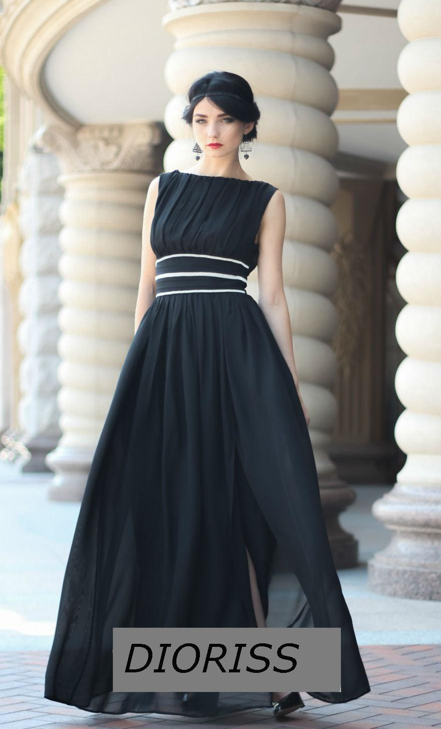 5c72750862ef Formal Floor Length Black Chiffon Dress.Sleeveless Occasion Maxi Dress.Long  Formal Black Dress