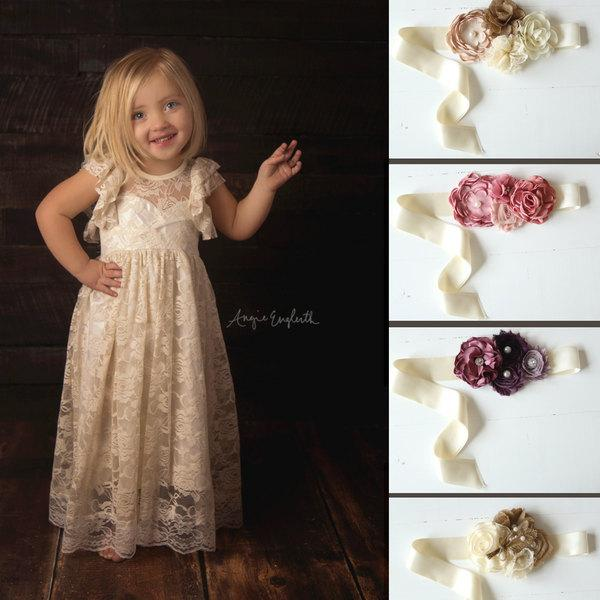 Hochzeit - open back flower girl dress, girls lace dress, country lace dress, rustic flower girl dress, shabby chic lace dress, boho flower girl dress