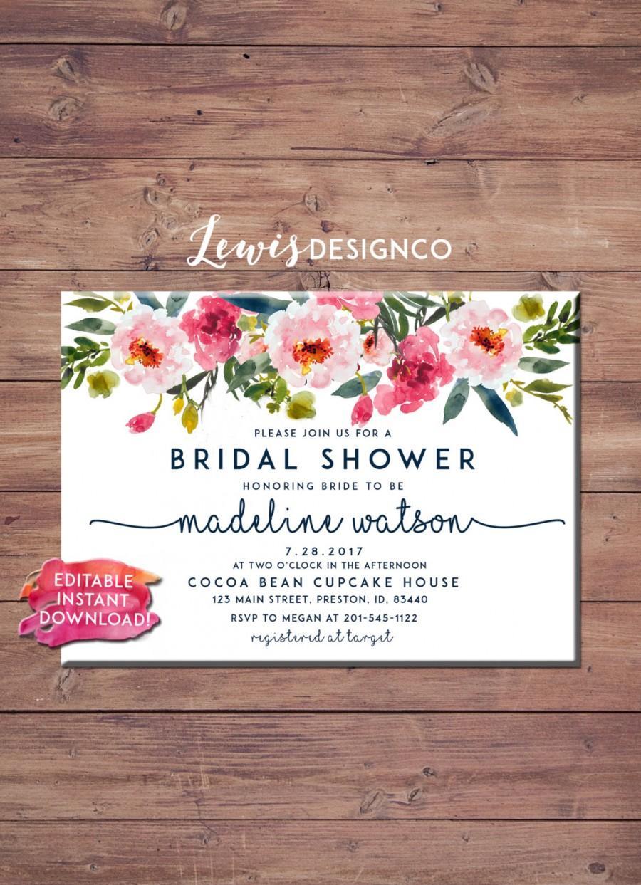 Свадьба - Floral Bridal Shower Invitation